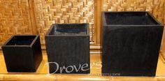 Cube terrazzo pot in black 500x500x500