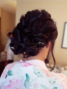 Pretty textured bridal updo. Hair by Samantha Stiksma of Kailey & Kennedy Cosmetics