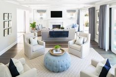 great room + living space + transitional home + sitting area + coastal home