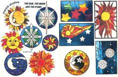 Sun Moon & Stars Stained Glass Pattern Book