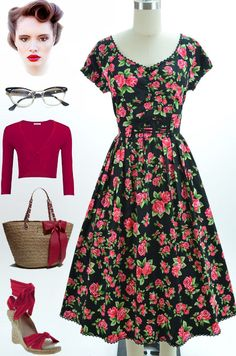 Brand new in store at Le Bomb Shop! Find it here: http://www.ebay.com/itm/50s-Style-BLACK-Rose-Print-PEASANT-Top-Wench-LaceUp-PINUP-Day-Dress-w-Full-Skirt-/140916797374?pt=US_CSA_WC_Dresses=item66782c24a5