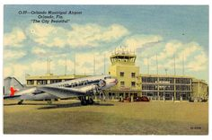 Orlando Municipal Airport vintage postcard Eastern Airlines
