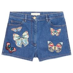 Valentino Embroidered butterfly appliqué denim shorts (2,420 NZD) ❤ liked on Polyvore featuring shorts, bottoms, embroidered denim shorts, denim short shorts, short jean shorts, denim shorts and embroidered shorts