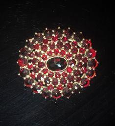 Victorian Sterling Silver Gold Gilt Rose Cut Garnet Wide Brooch