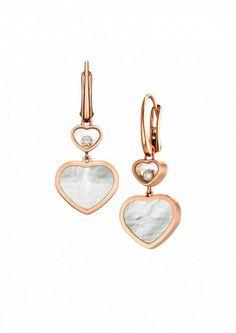 Chopard ジュエリー イヤリング1組 Happy Hearts イヤリング 18Kローズゴールド、ダイヤモンド、マザーオブパール