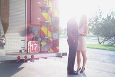 vintage engagement photos l couple photography l vintage photo l firehall l fire truck l love  with karlyfordphotography