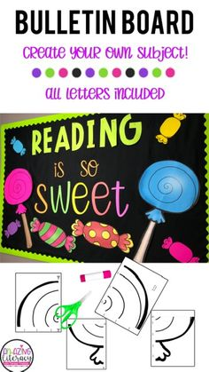 Classroom bulletin board ideas for back to school. ALL LETTERS ARE INCLUDED so you can create your own subject, Math is so Sweet, or Science, Music, First Grade, etc. #bulletinboardideas #elementarybulletinboards Elementary Bulletin Boards, Elementary School Library, Classroom Bulletin Boards, Classroom Decor, Elementary Schools, Teaching Tools, Teaching Resources, Teaching Ideas, Back To School Activities