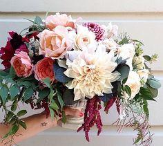 Flower combo - cafe au lait dahlias, zinnias, amaranthus, garden roses