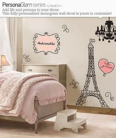 Art Walls : Mini Eiffel on your children room. Credit : DecalGlam