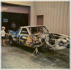 Jr surveys the damage to his dads #15 T- Bird