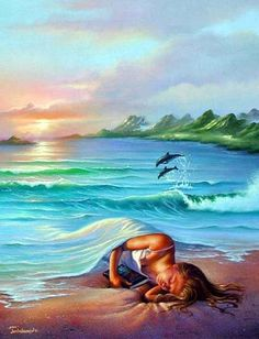 """""""Ocean dreams"""" by Jim Warren Giclee on Canvas. Jim Warren is one of the most creative and prolific artists of our time. His fine art paintings have been commissioned by many celebrities. Salvador Dali, Fantasy Kunst, Fantasy Art, Jim Warren, Art Picasso, Vladimir Kush, Photo D Art, Surreal Art, Belle Photo"""