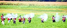 The reenactment of the Battle of Caulk's Field during the War of 1812.  Kent County, MD.