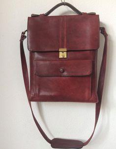 Vintage darkred leather shoulderbag businessbag bag by MORETHANVINTAGENL on Etsy