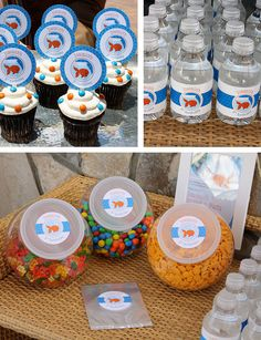 Water bottle labels - such a smart and cute addition for the party!
