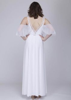Bohemian wedding dress cut egdes sleeves boho wedding dress
