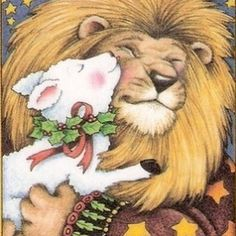 Mary Engelbreit - Lion and Lamb Lion And Lamb, Whimsical Christmas, Mary Engelbreit, High Art, Spirit Animal, Sheep, Cute Pictures, Cool Art, Illustration Art
