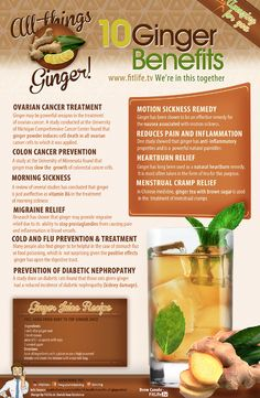 10 Health Benefits of Ginger (Infographic) I so need to use more ginger in my cooking... I didn't like it for a long time, but I'm coming around to it now:)