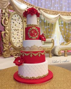 Yesterday's wedding cake set up at The Royal Nawab for the lovely Halima. Yesterday's wedding cake set up at The Royal Nawab for the lovely Halima. In tiers of vanilla and red velvet. Wedding Cake Red, Indian Wedding Cakes, Amazing Wedding Cakes, Wedding Cake Rustic, Elegant Wedding Cakes, Wedding Cake Designs, Lace Wedding, Wedding Shoes, Wedding Rings