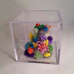 Miniature Coral Reef Cube with Sealife by TinyTropicals on Etsy