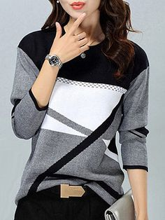 Round Neck Patchwork Color Block Knit Pullover - Look Fashion Trendy Tops For Women, Cardigans For Women, Stylish Tops, Pull Gris, Long Sleeve Sweater, Grey Sweater, Look Fashion, Fall Fashion, Dress Outfits