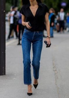 button up with rolled up sleeve (short sleeve) but jeans are perfect wash