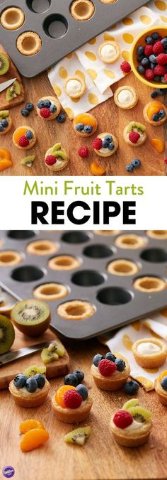 Make these delicious mini fruit tart recipe for mom this Mother's Day! This delicious, easy recipe pairs the pop of fresh, mouthwatering berries inside the yummy crisp sugar cookie dough crust, all along with the creamy tart filling. These mini tarts are a natural addition to any brunch or breakfast, and you can make 2 dozen at a time when you use the Wilton Mega Mini Muffin pan.