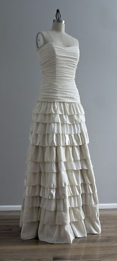 Callie - Tiered Ruffled Skirt Ruched Bodice Fit and Flare Eco Friendly Wedding Dress - Ivory Hemp Silk. $1,195.00, via Etsy.