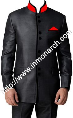 Classic look black jodhpuri suit made in pure polyester fabric. It has bottom as trouser. Dryclean only.