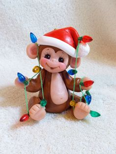 Monkey Christmas Ornament children Personalized Gift Polymer Clay Gift animal lights