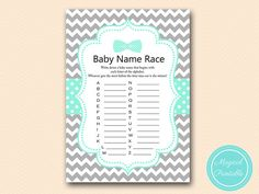 Baby name race Alphabet baby name race game by MagicalPrintable