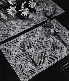 Place Mats & Runner crochet pattern from Old and New Favorites Doilies, originally published by Clark's ONT J Coats, Book 217, in 1944.