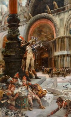 Georges-Jules-Victor CLAIRIN Napoleons Troops in Front of San Marco, Venice - FRENCH PAINTERS