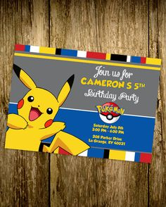 PRINTABLE Pokemon - Pikachu - Custom Birthday Invitation - Girls Boys Birthday…