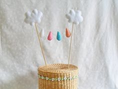 Cloud and raindrops cake topper. Have a happy birthday, baby shower or any get together event. Handmade in felt.