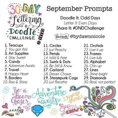 Happy Monday my creative friends! The September Challenge is here! Get a printable version on the blog today for easy reference. You guys rocked August and I can't wait to see your creativity shine this month too! #dawnnicoledesigns #dndchallenge #justcreate