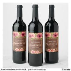 Shop Pink Rose Burgundy Floral Gold Geometric Wedding Wine Label created by WeddingCharme. Personalize it with photos & text or purchase as is! Vino Color, Bridal Shower Wine, Bridal Showers, Baby Showers, Colorful Donuts, Flowers Wine, Wedding Wine Labels, Happy 40th Birthday, Serveware