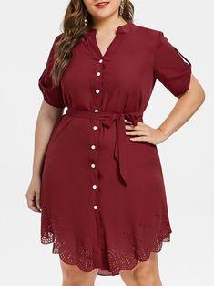 Plus Size Asymmetrical Shirt Dress - RED WINE 5X Plus Size Stores f15d7cb174f7