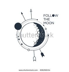 """Hand drawn inspirational badge with textured moon vector illustration and """"Follow the moon"""" lettering."""