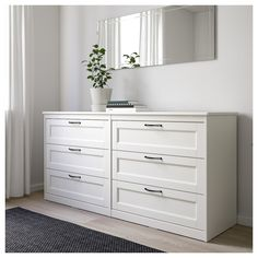 IKEA - SONGESAND, Chest of 6 drawers, white, Of course your home should be a safe place for the entire family. That's why a safety fitting is included so that you can attach the chest of drawers to the wall. Smooth running drawers with pull-out stop. Bedroom Chest Of Drawers, Dresser Drawers, White Bedroom Dresser, White Dressers, White 6 Drawer Dresser, Dresser Ideas, White Chest Of Drawers, Ikea Drawers, Shabby Chic Chest Of Drawers