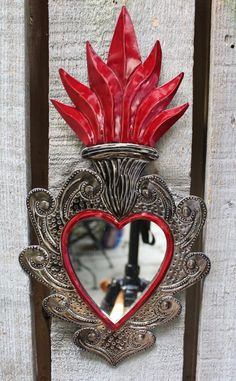 Large Sacred Heart Mirror Stamped Tin Hand Made Milagro Oaxaca Mexican Folk Art