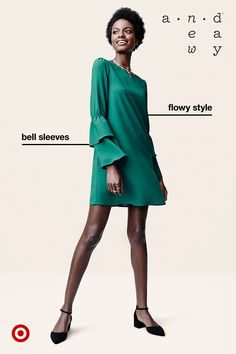With a bold color and a bit of fresh styling, a short flowy dress can definitely stand out from the crowd. The layered bell sleeves make the dress even more dramatic, and the cut is flattering on all body types. Make it work-appropriate with strappy flats or dress it up with heels—so effortlessly glam!