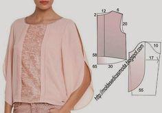 PASSO A PASSO MOLDE DE BLUSA Corte um retângulo de tecido com a altura e largura que pretende para as costas e frentes. Dobre ao meio o retângulo. Desenhe