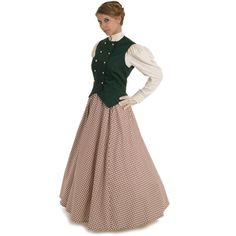 Victorian Style Vest and Skirt - Black Cotton Twill Vest & Midnight Calico Skirt - boot length (does not include shirt) Victorian Women, Victorian Fashion, Vintage Fashion, Edwardian Era, Victorian Dresses, La Fille Gibson, Big Skirts, Gibson Girl, Period Outfit