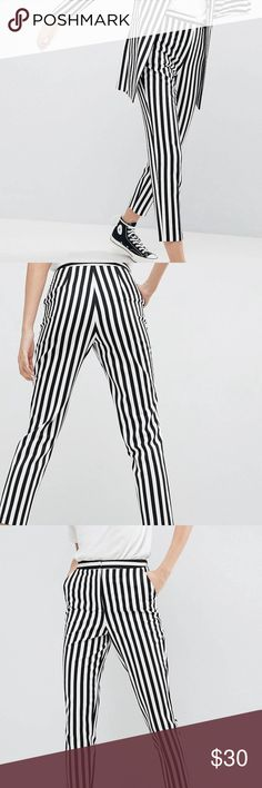 ASOS Slim Striped Pants These super rad pants are not available on ASOS! I'd keep them if they fit but my muffin top flowth over. Mix and match with prints, polka dots and bright colors. Fun with tennis shoes, heels or ankle boots. ASOS Pants Skinny