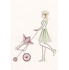 Mother with stroller | Special Occasions patterns at Stitching Cards.