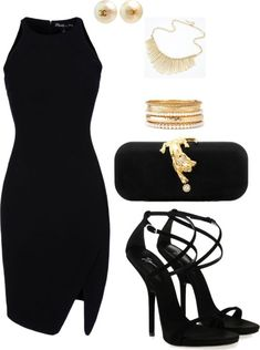 """Black and gold!"" by lynncas on Polyvore:"