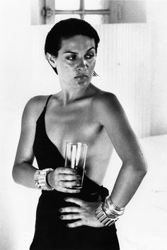 """Paloma Picasso in Saint Tropez, 1973 (silver gelatin print) Photo: Helmut Newton. Newton admired her hands, commenting on their strength (""""just like her father's)."""