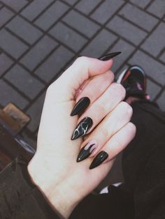 127 awesome acrylic coffin nails designs in summer -page 14 > Homemytri.Com – Nails art Grunge Nails, Edgy Nails, Aycrlic Nails, Stylish Nails, Nail Manicure, Hair And Nails, Nail Polish, Coffin Nails, Toenails