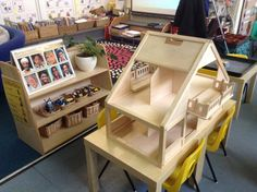 Dolls house, purposely empty for children to chose what they want to fill it with. The shelf behinds includes a selection of furniture and a selection of families from different cultures for them to choose from. Classroom Setting, Classroom Setup, Classroom Design, Dramatic Play Themes, Dramatic Play Centers, Reggio Inspired Classrooms, Multicultural Classroom, Communication Friendly Spaces, Eyfs Classroom