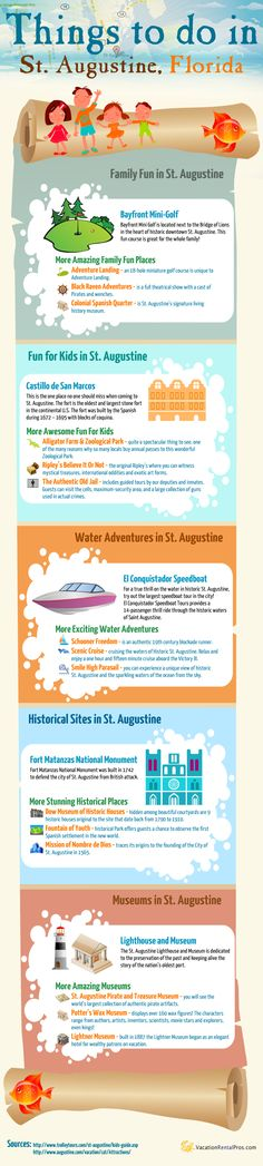 Colorful Infographic about things to do in St. Augustine Florida.